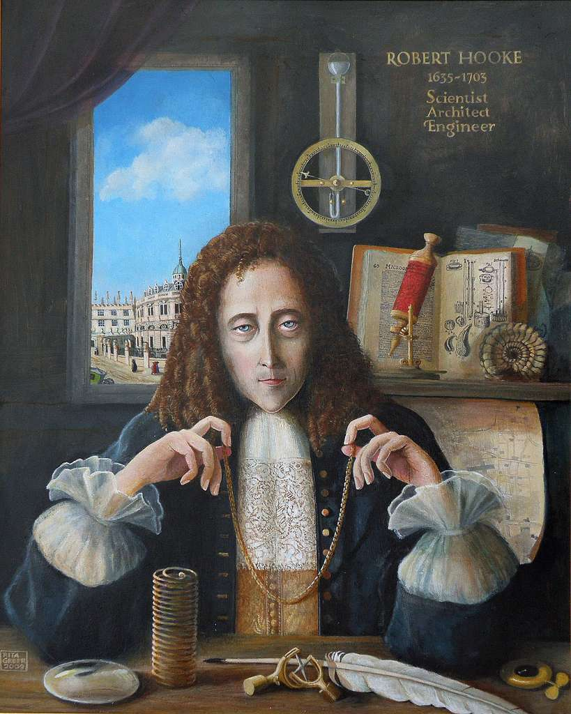 Robert Hooke a apporté de nombreuses contributions au domaine de la science. On reconnaît ici, entre autres choses, un ressort illustrant la loi de Hooke, son joint universel, une lentille illustrant ses travaux en optique, la fameuse chaînette renversée, un fossile renvoyant à ses travaux en paléontologie, ou encore son microscope composé et Micrographia, ouvert en arrière-plan. © Rita Greer