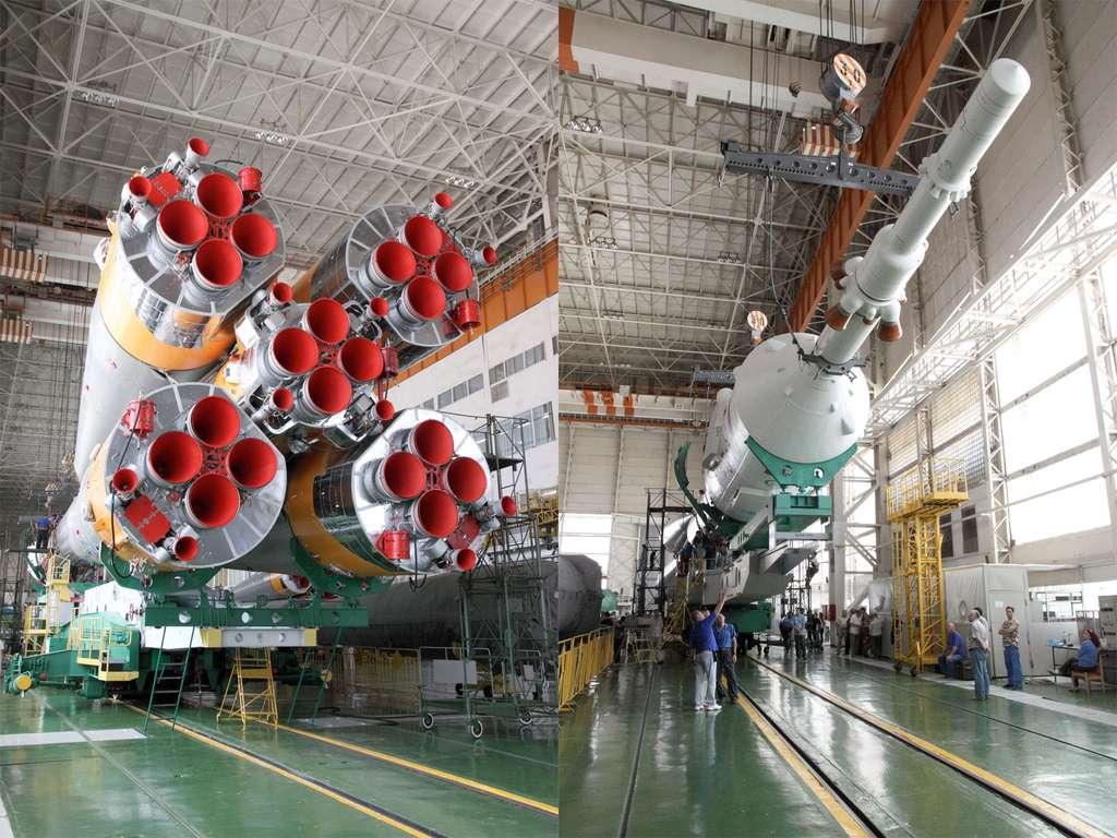 Le lanceur et la capsule Soyouz TMA-05M utilisés par l'équipage de trois astronautes qui a décollé dimanche à destination de l'ISS. © Victor Zelentsov, Nasa