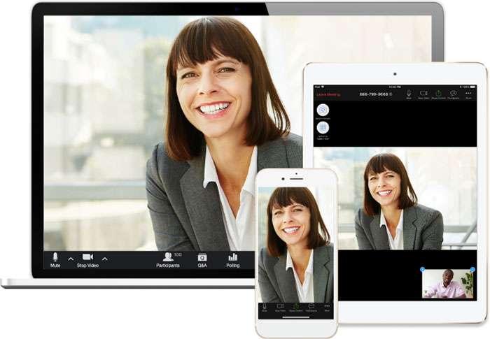 Zoom sur PC, tablette et smartphone. © Zoom.us