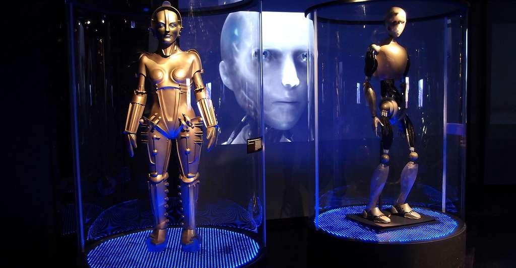 Robots de Metropolis (1927) et à (2004) à l'exposition « Et l'Homme... créa le robot ». © Guilhem Vellu, CC by 2.0