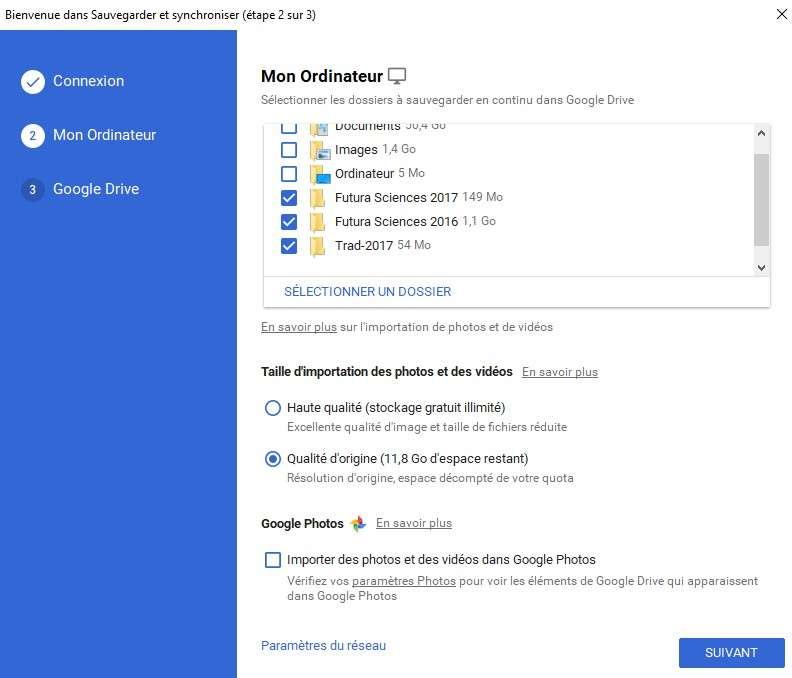 Sélectionner les dossiers à sauvegarder sur Google Drive. © Futura