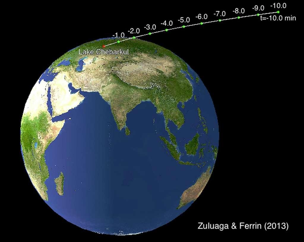 Les dix dernières minutes de la trajectoire dans l'espace de la météorite de l'Oural le 15 février 2013 telle qu'elle a été reconstituée par deux chercheurs colombiens à partir des enregistrements vidéo du passage de la météorite. Elle a traversé le ciel à plus de 60.000 km/h avant de se désintégrer. © Jorge Zuluaga, Ignacio Ferrin