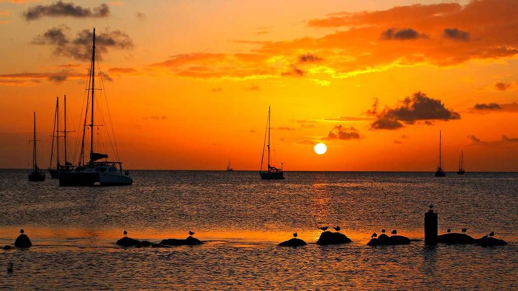 Coucher de soleil sur Rodney Bay. © Antoine, tous droits réservés, reproduction interdite