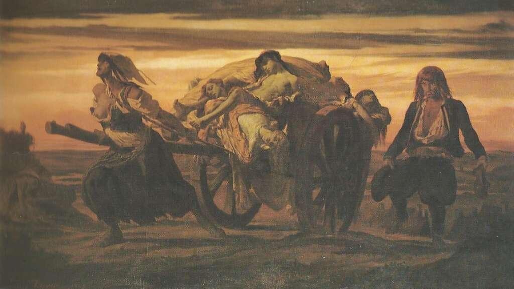 La peste d'Elliant, 1849, huile sur toile de Louis Duveau. © Musée des Beaux-Arts de Quimper, Wikimédia Commons, domaine public.