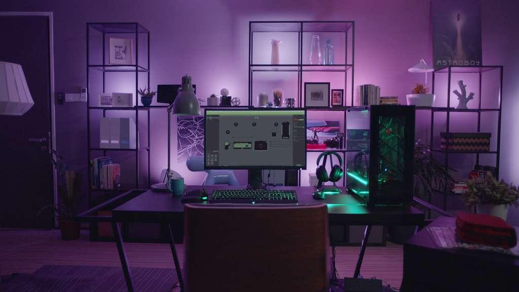 Le système de synchronisation de l'éclairage Philips Hue Entertainment ici en action avec des accessoires PC de la marque Razer. © Philips Hue/Razer