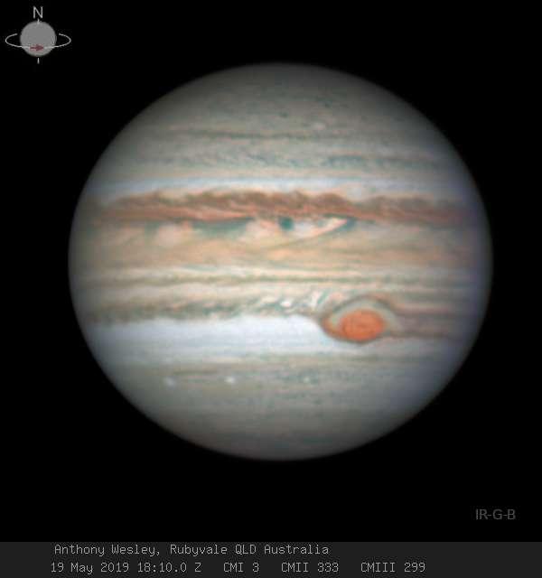 La Grande Tache rouge de Jupiter le 19 mai 2019. © Anthony Wesley
