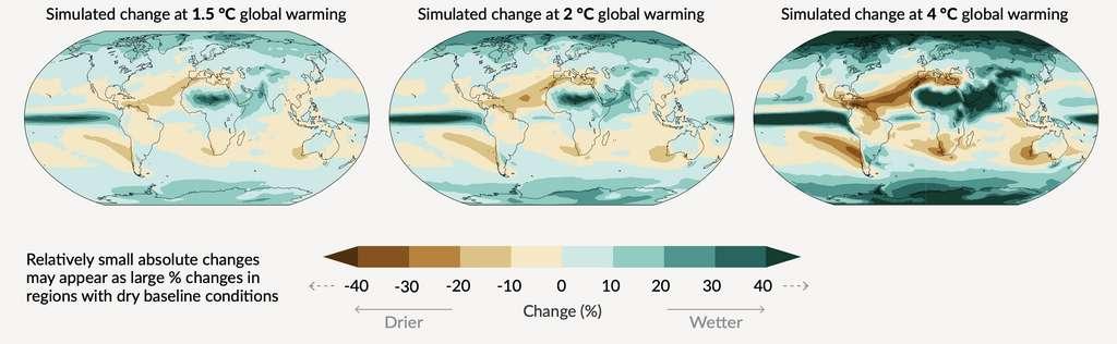Variation simulée des précipitations annuelles moyennes (en %). © IPCC.