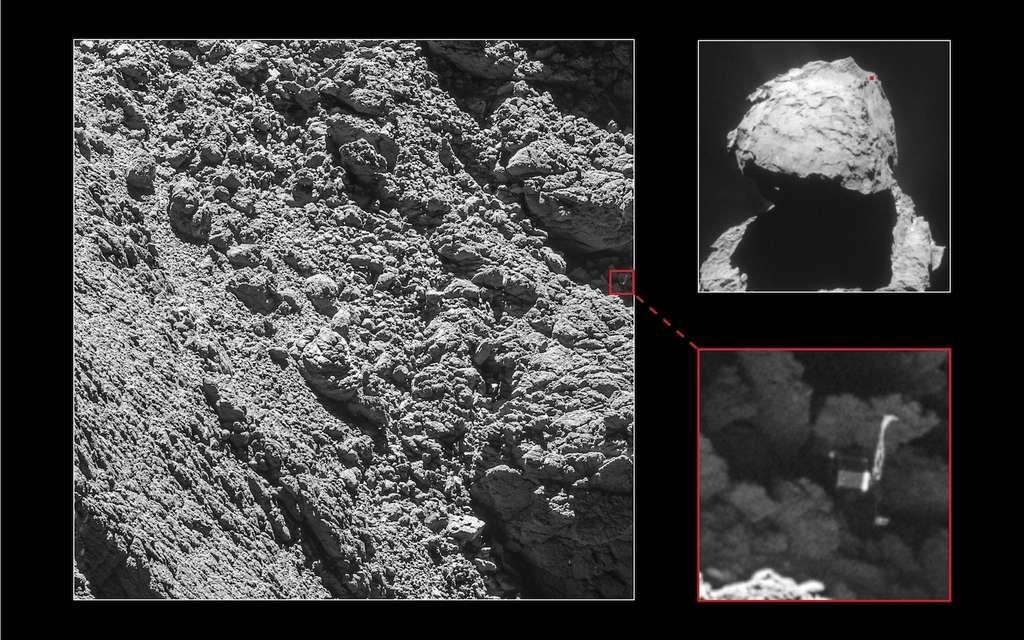 Après enquête et à la faveur du rapprochement de Rosetta du noyau cométaire ces dernières semaines, l'atterrisseur Philae a pu être repéré. © ESA, Rosetta, MPS for OSIRIS Team MPS, UPD, LAM, IAA, SSO, INTA, UPM, DASP, IDA