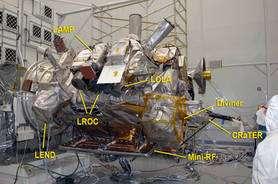 La sonde LRO et ses six instruments (voir dans le texte). © Nasa/Debbie McCallum