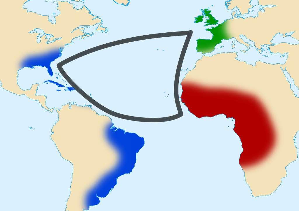 L'esclavagisme était au cœur du commerce triangulaire qui impliquait l'Europe, l'Afrique et le continent américain. © Sémhur, Wikimedia Commons, CC by-sa 3.0