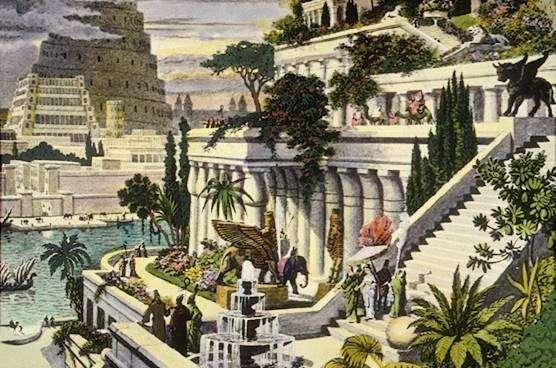 Amener la campagne à la ville est une idée ancienne, comme en témoignent les jardins suspendus de Babylone – peut-être – érigés six siècles avant notre ère, par le roi Nabuchodonosor II (ici sur une gravure autrefois attribuée au Hollandais Martin Heemskerck, XVIe siècle). © Domaine public