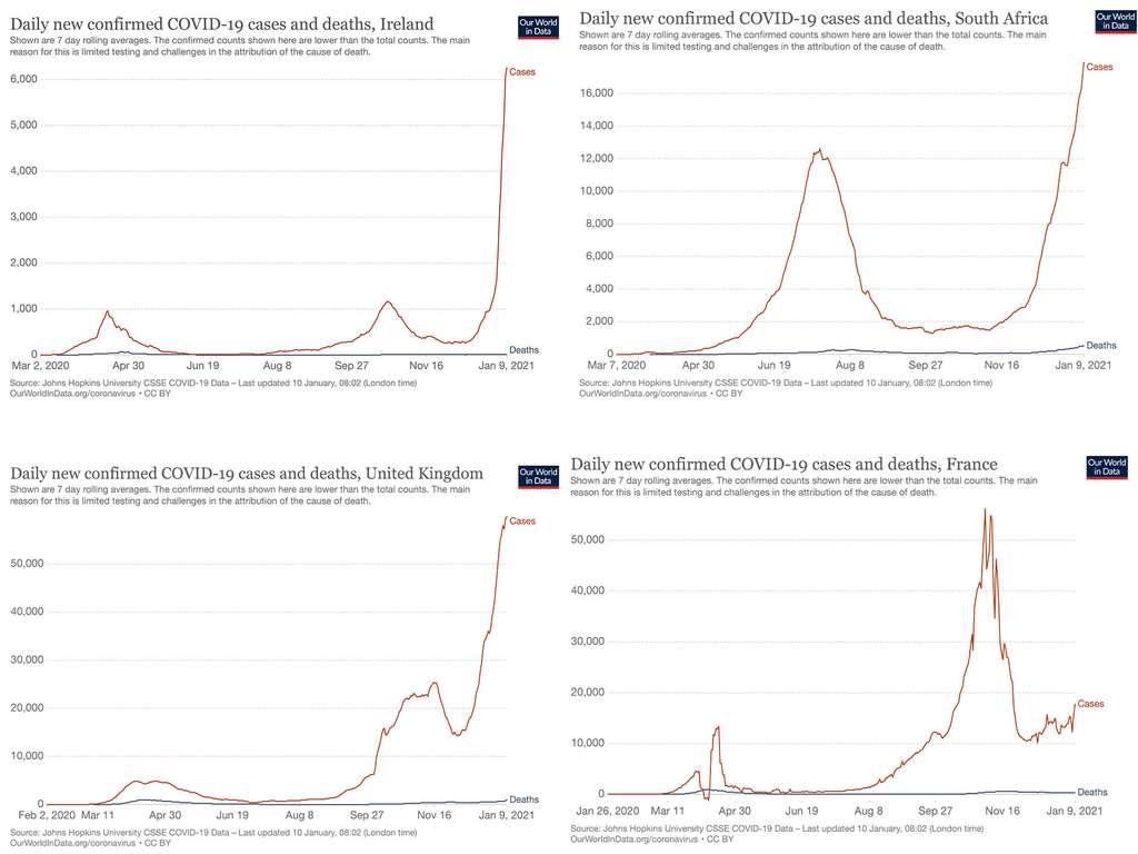 Les courbes de nouveaux cas et de nouveaux décès en Irlande, Afrique du Sud, Royaume-Uni et France. © Ourworldindata