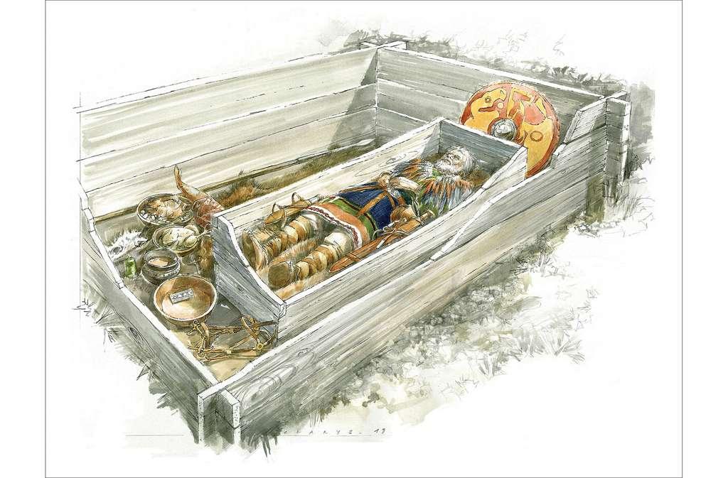Reconstitution d'une chambre funéraire dans l'est de la France, au Moyen Âge. © B. Clarys, PCR espaces et pratiques funéraires en Alsace aux époques mérovingienne et carolingienne