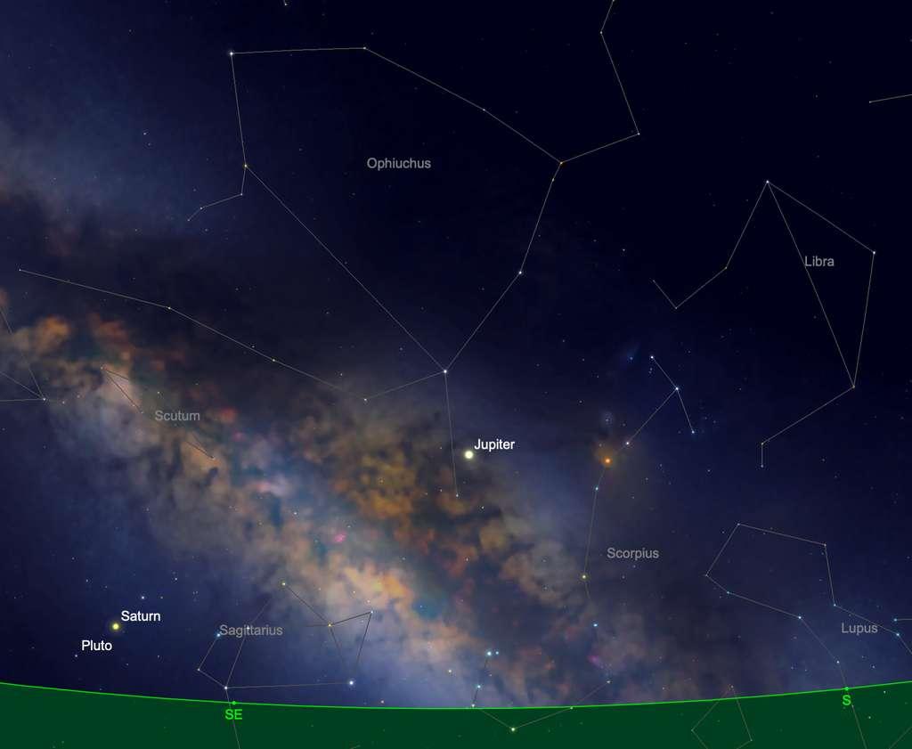 Position de Jupiter dans la nuit du 10 au 11 juin vers minuit. © SkySafari
