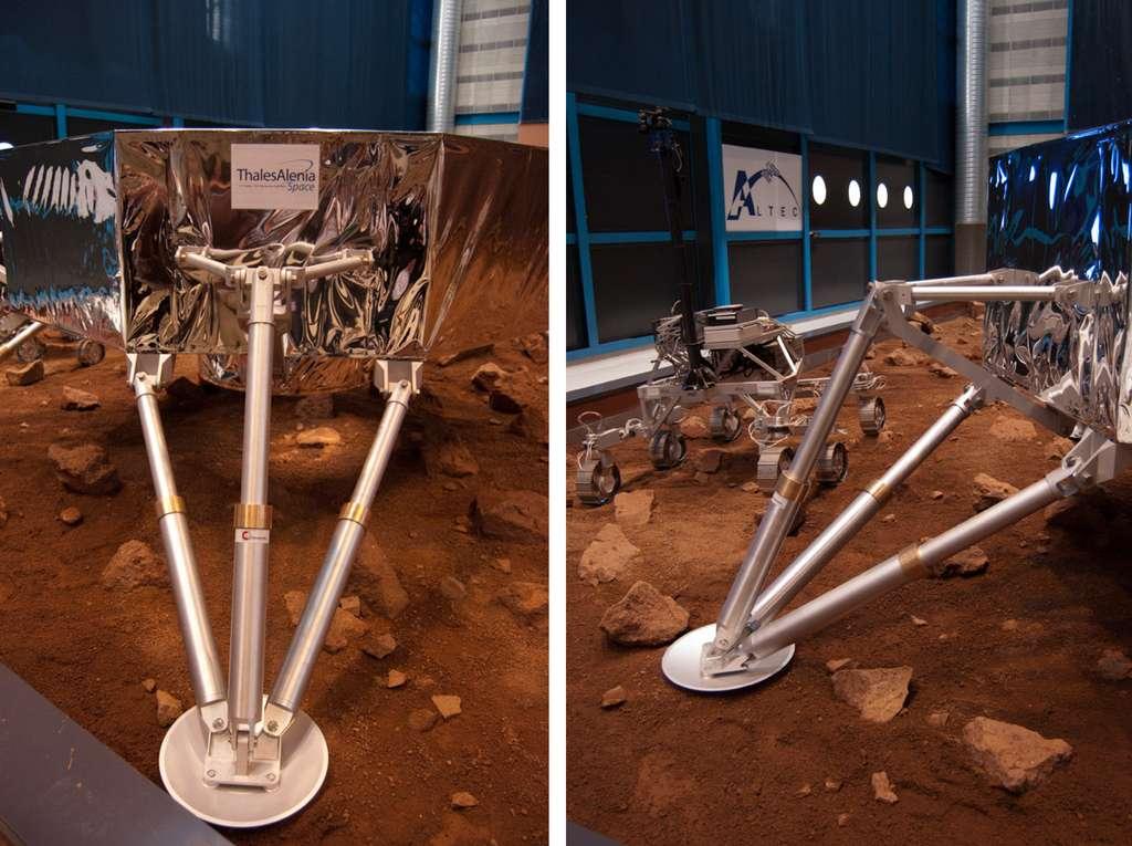 Chez Altec (Thales Alenia Space, Turin), essai et mise au point du pied de la plateforme Amalia, conçu pour atterrir en douceur sur la surface lunaire à près d'un mètre par seconde. © Flashespace, R. Decourt