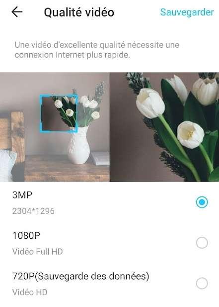 Dans les réglages disponibles, on remarque que la caméra est réglée par défaut en Full-HD. Pour augmenter la définition, il faut choisir 3MP. © Futura