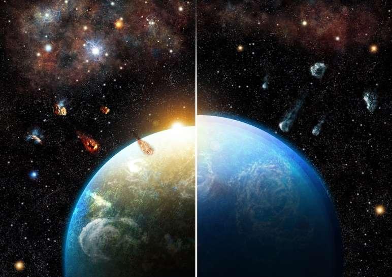 Les systèmes planétaires, nés dans des régions denses en formation d'étoiles massives, héritent de quantités substantielles d'aluminium 26 qui assèche leurs blocs de construction, les planétésimaux, avant l'accrétion (à gauche). Les planètes formées dans les régions de formation d'étoiles de faibles masses accrètent de nombreux corps riches en eau et deviennent des mondes océaniques (à droite). © Thibaut Roger.
