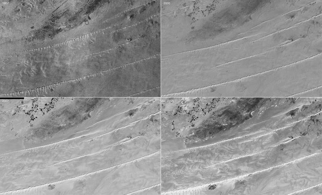 Évolution de l'allongement de dunes du désert du Ténéré, au Sahara, de 1957 à 2013. © IGN, Cnes, Google Earth, Antoine Lucas
