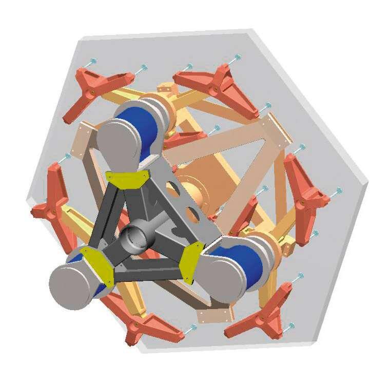 Schéma conceptuel d'un des 906 segments du E-ELT, miroirs hexagonaux de 1,4 mètre de diamètre pour 5 centimètre d'épaisseur. En bleu, les actionneurs permettent de faire varier l'orientation de chacun d'eux. © ESO