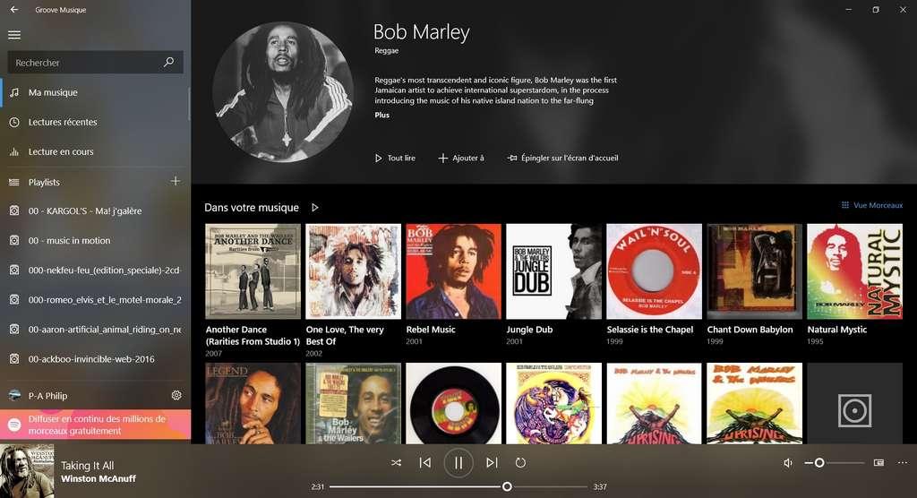 L'interface de Groove Musique est simple, aérée et graphique © Microsoft Corporation