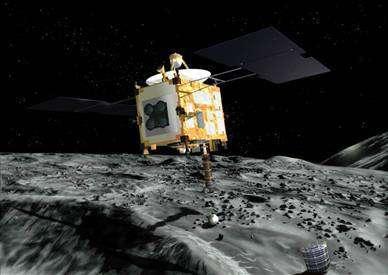 La sonde Hayabusa près de l'astéroïde Itokawa. Crédits : JAXA