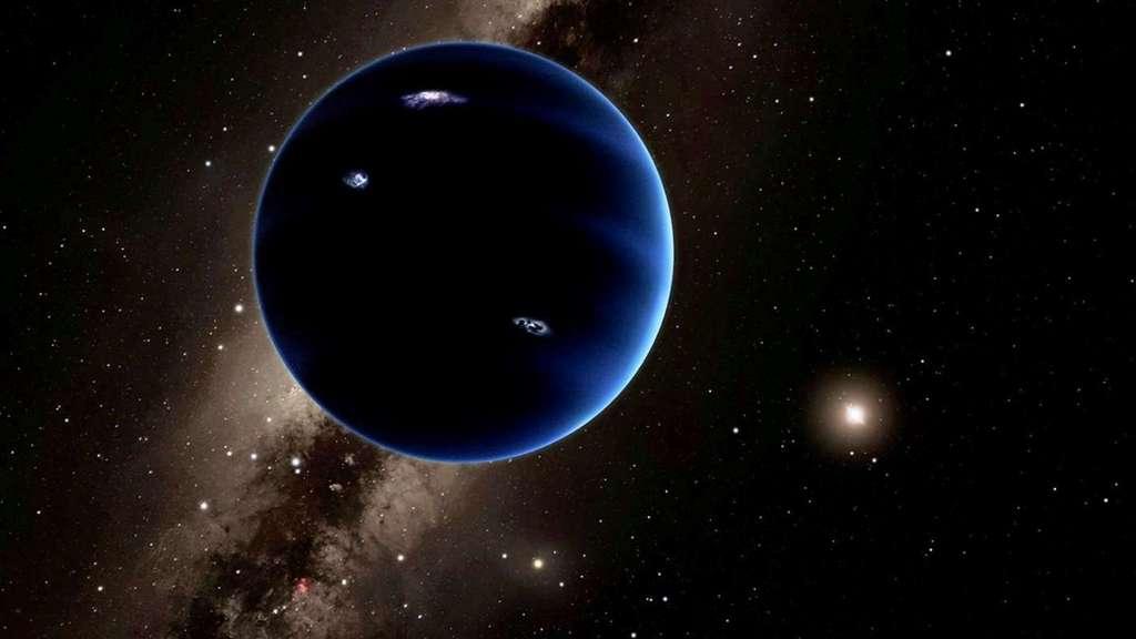Une vue d'artiste de la neuvième planète qui existe peut-être, ou pas, à plus de 200 fois la distance de la Terre au Soleil, loin au-delà de l'orbite de Pluton. Actuellement, sa masse est estimée à environ 10 fois celle de la Terre. Elle devrait, logiquement, être enveloppée par une épaisse atmosphère d'hydrogène et d'hélium qui la ferait ressembler à Neptune. © Caltech, R. Hurt (Ipac)