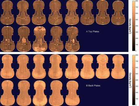 Les treize violons étudiés au scanner CT, dont huit actuels (les rangées supérieures) et cinq anciens (dessous). L'image du haut montre les tables d'harmonie (la face supérieure) et celle du bas les fonds. L'échelle indique les densités, qui, observées de près, paraissent plus homogènes sur les instruments anciens (celui du milieu a subi des réparations importantes. Les auteurs ne précisent pas l'origine des instruments anciens, prêtés pour l'expérience et dont les photographies (dont celle-ci) publiées dans la revue PlosOne ont été « anonymisées » (anonymised). Cliquez pour agrandir l'image. © Berend C. Stoel/Terry M. Borman/PlosOne