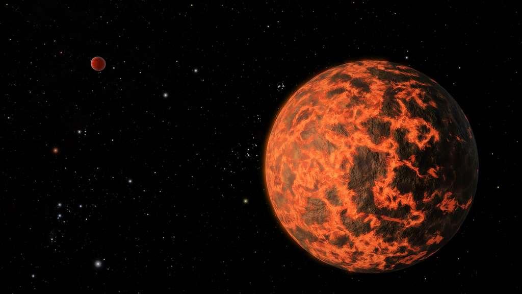 Une vue d'artiste des deux exoplanètes supposées autour de GJ 436. Il se pourrait que UCF-1.01 soit recouverte d'un océan de magma. © R. Hurt, SCC, Nasa, JPL-Caltech
