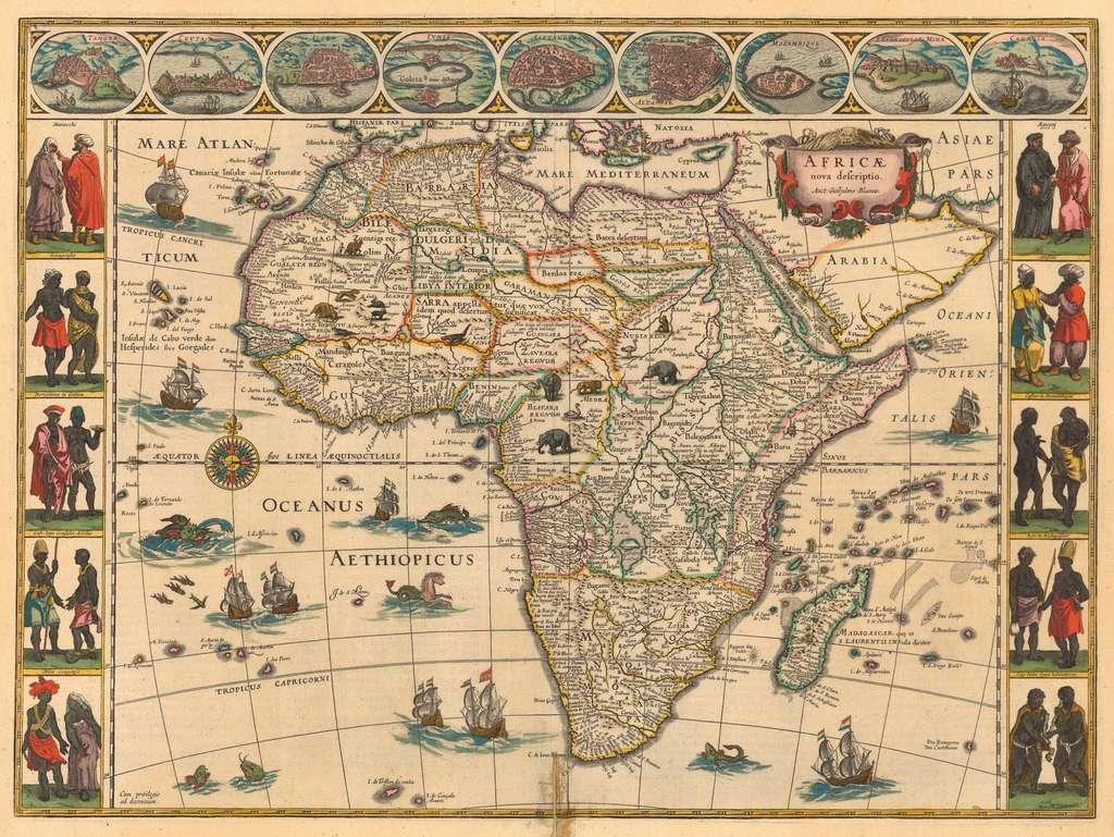 Carte de l'Afrique dessinée par Willem Blaeu, édition colorisée de 1644. Exemplaire de 1638 à la Bibliothèque nationale de France. © Wikimedia Commons, domaine public