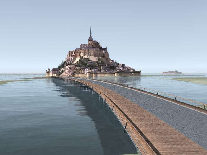 Image virtuelle du pont-passerelle du Mont-Saint-Michel