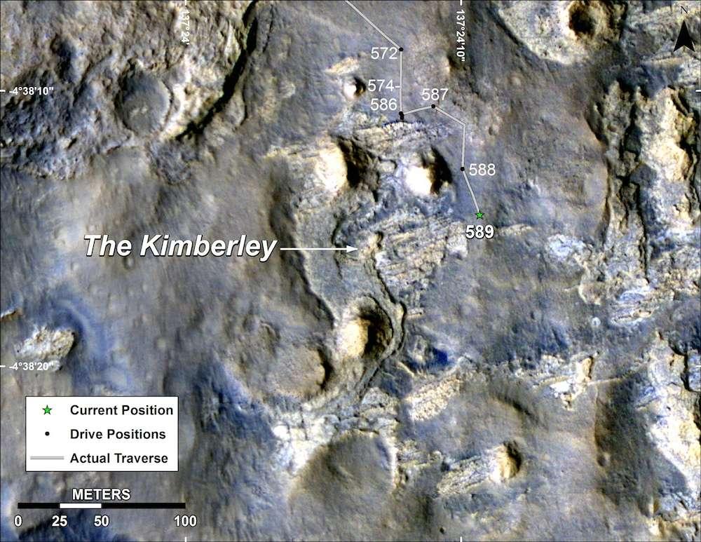 Photographiée depuis l'espace par la caméra HiRise (High Resolution Imaging Science Experiment) de la sonde spatiale MRO, la région où progresse actuellement Curiosity fut sélectionnée par l'équipe scientifique voici plus d'un an. Surimposé, on découvre ici le tracé du chemin qu'a emprunté le rover ces dernières semaines (actual traverse, en traits gris, reliant différents repères, drive positions, en points noirs). Le 3 avril (sol 589), il a atteint le lieu-dit Kimberley (current position, étoile verte) où il devrait séjourner quelque temps pour des recherches approfondies. © Nasa, JPL-Caltech, université d'État de l'Arizona
