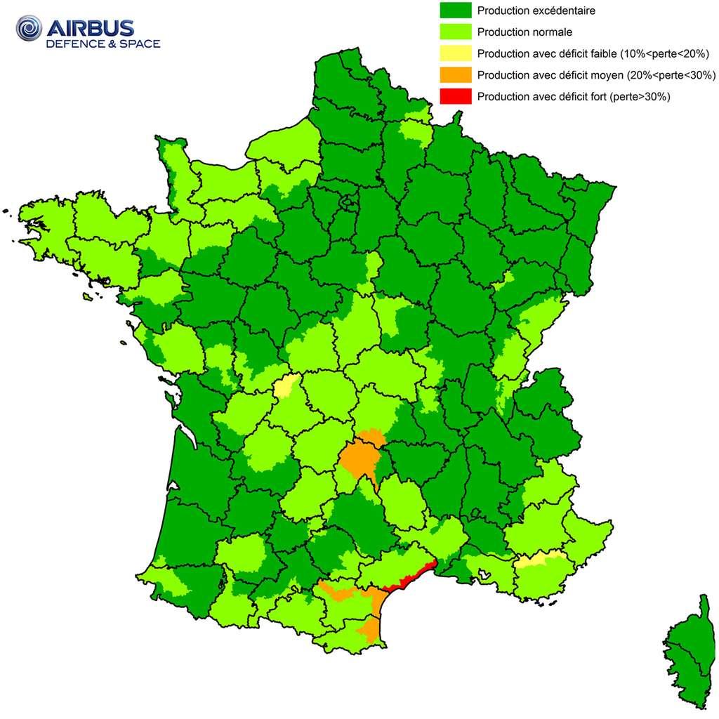 La carte de l'Indice de Production Fourragère sur l'ensemble du pays pour septembre 2016, des régions excédentaires (en vert foncé) à celles qui ont subi un déficit (en rouge). © Airbus