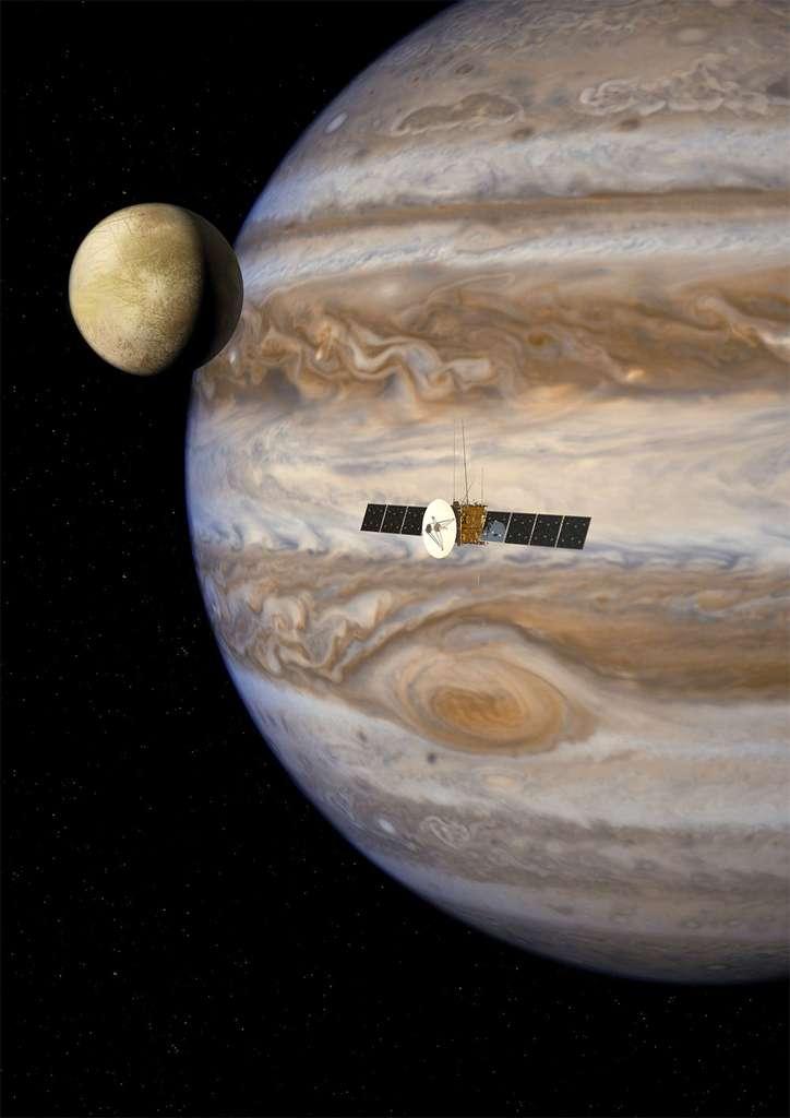 L'étude du système jovien pourrait apporter une meilleure connaissance de cette partie du Système solaire. Europa Clipper, Juno et Juice sont autant de sondes qui pourraient démontrer que, quelque part autour de Jupiter, dans une de ses lunes, la vie est possible. © Esa, AOES