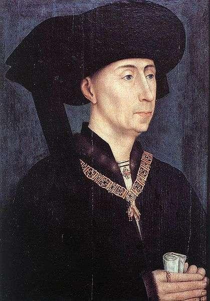 Philippe III le Bon portant le collier de l'ordre de la Toison d'or et le chaperon à cornette pendante. (Copie d'après Rogier van der Weyden, vers 1450.) © Musée des beaux-arts de Dijon, Wikipédia, DP