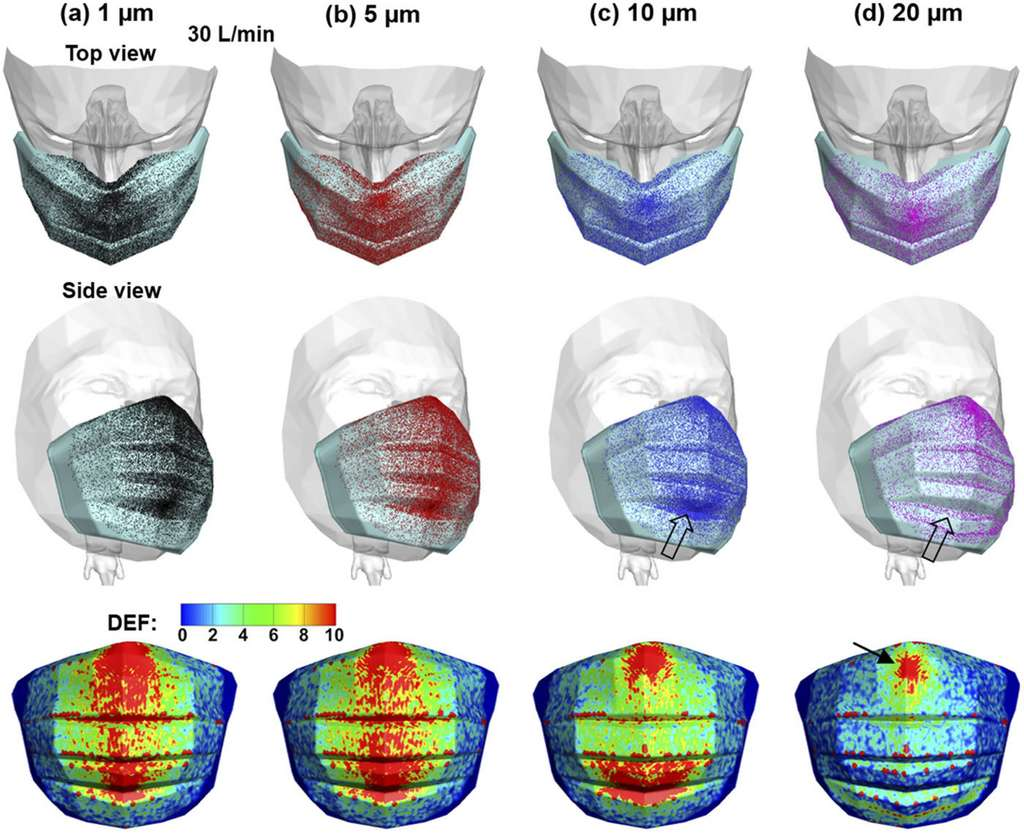 Le masque diffuse des gouttelettes de différentes tailles sur toute la surface du visage et ralentit le flux d'air, ce qui favorise l'inhalation des particules. © Jinxiang Xi et al, Physics of Fluids, 2020