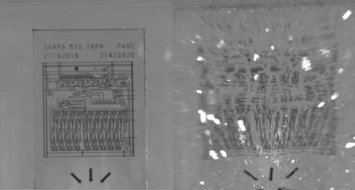 Lorsqu'il explose, le verre trempé renfermant le circuit électronique se fragmente en milliers de morceaux infimes, ce qui rend impossible toute reconstitution en vue de récupérer les données. © Parc, a Xerox company