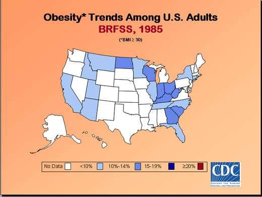 Taux d'obésité aux États-Unis en 1985.