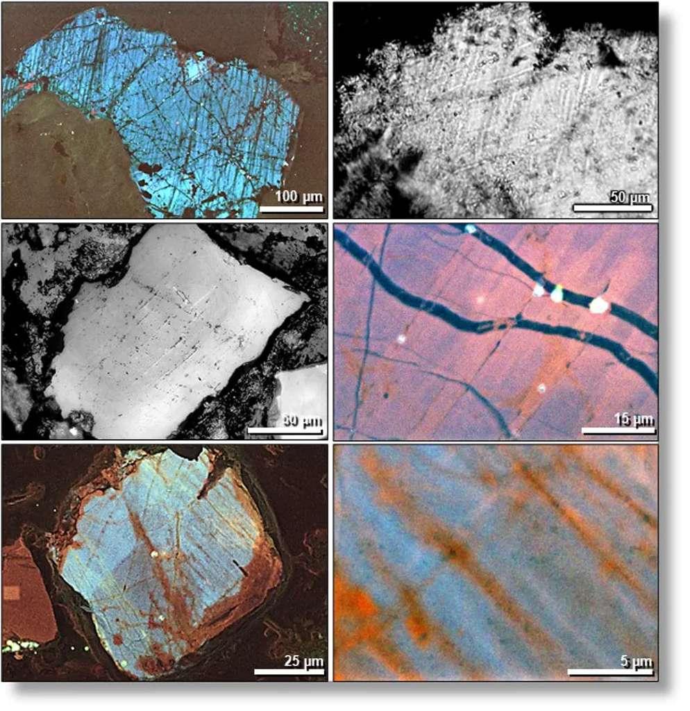 Quelques images au microscope électronique de quartz choqués retrouvés du côté de Tall el-Hammam. © Allen West, CC by-ND, Université de Californie
