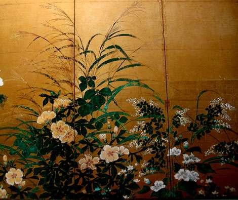 Détail d'un paravent japonais de l'époque Edo. © Claire König