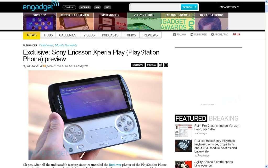 Avec sa XPeria Play, Sony invente un curieux concept : la console de jeux minuscule servant aussi de téléphone. © Engadget.com