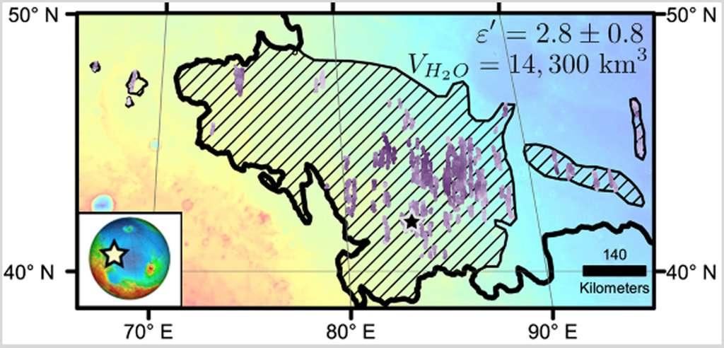 Répartition diagonale des dépôts de glace d'eau sous la surface de Mars dans la région d'Utopia Planitia. © Nasa, JPL-Caltech, Université de Rome, ASI, PSI