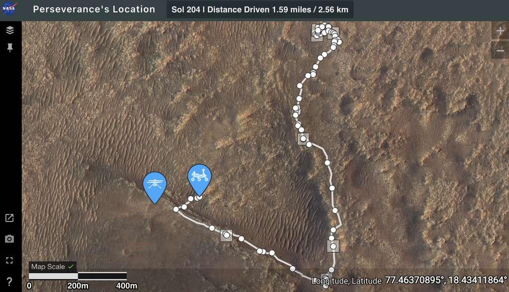 Capture d'écran de la web app Where is Perseverance ? © Nasa, JPL-Caltech