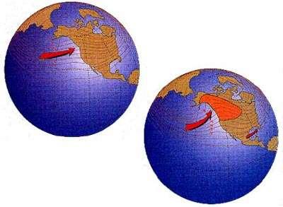 Figure 13 Les vents au niveau du jet-stream (petites flèches noires), 8 à 25 km au dessus du niveau de la mer, changent de parcours entre un hiver normal (en haut) et un hiver El Niño (en bas). Une dorsale de haute pression présente sur la côte ouest de l'Amérique du Nord pendant les hivers El Niño préserve des températures supérieures à la normale dans les régions dessinées en orange, et dirige les orages qui habituellement affectent les états de Washington et de l'Orégon plus vers le nord, au niveau de la côte de l'Alaska (flèche épaisse). Les conditions El Niño créent aussi un environnement favorable pour le développement d'orages dans le Golfe du Mexique, apportant des pluies intenses à presque tout le sud des États-Unis. Un phénomène analogue de renforcement des vents d'ouest se produit dans l'hémisphère sud pendant son hiver, apportant de fortes pluies à des régions du sud du Brésil, et du nord du Chili et de l'Argentine.