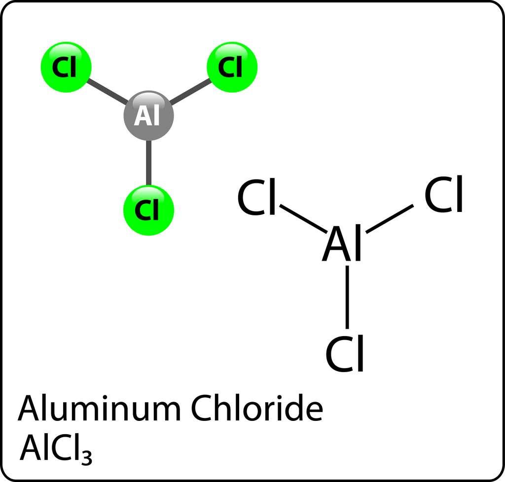 Le chlorure d'aluminium est composé d'un ion aluminium et de trois ions chlorure. © Gregory, Adobe Stock