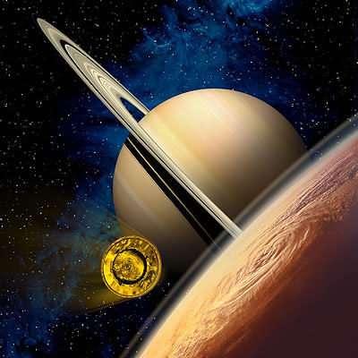 Huygens lancé à 22000 km/h vers l'atmosphère épaisse de Titan (Crédits : ESA)