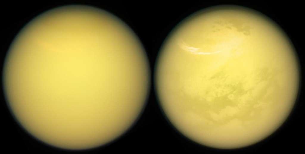 Ces deux vues de Titan illustrent comment la mission Cassini a révélé la surface de ce monde fascinant. Avec son radar et son spectromètre infrarouge, la sonde a été capable de voir à travers l'atmosphère dense de Titan, ce dont n'avaient pas été capables les sondes Voyager. © Nasa, JPL, Caltech, Space Science Institute