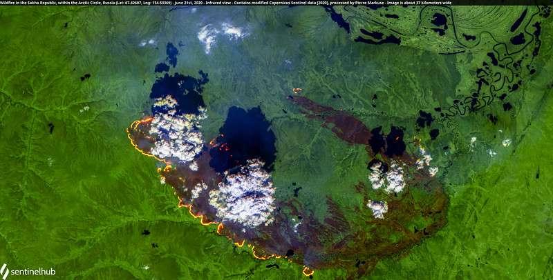 Les incendies au 20 juin 2020 vus de l'espace dans la région de Sakha, dans le cercle arctique. La photo couvre une zone de 37 kilomètres. © Données du satellite Copernicus, réalisation Pierre Markuse