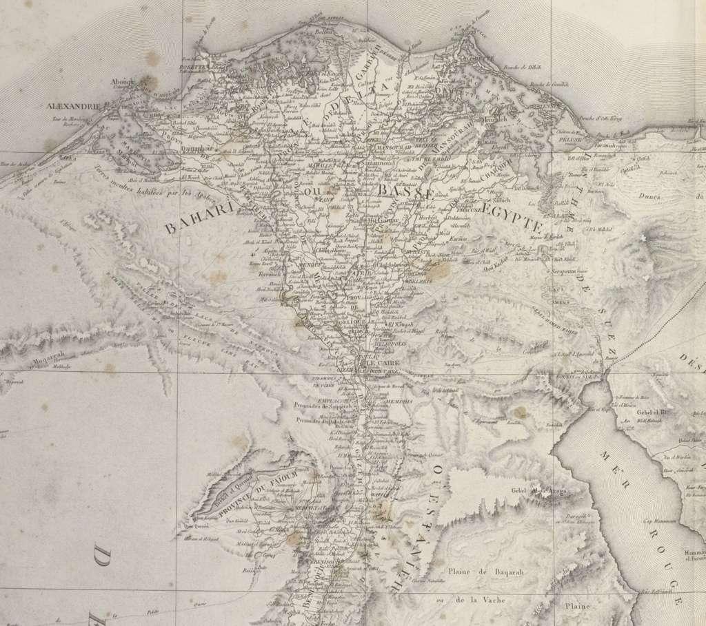 Carte topographique de Basse Egypte (agrandissement), dans Description de l'Egypte, Géographie feuille 2, parue en 1809. The New York Public Library Digital Collections. © Wikimedia Commons, domaine public.