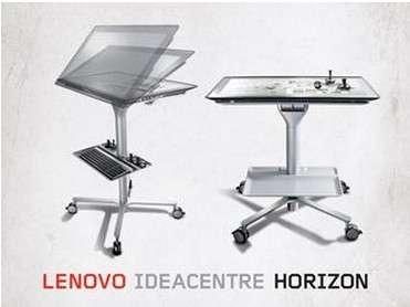 L'IdeaCentre Horizon est un concept d'ordinateur tout-en-un sous Windows 8 qui peut s'utiliser de manière classique à la verticale et se transformer en table de jeu virtuelle une fois mise à l'horizontale. © Lenovo