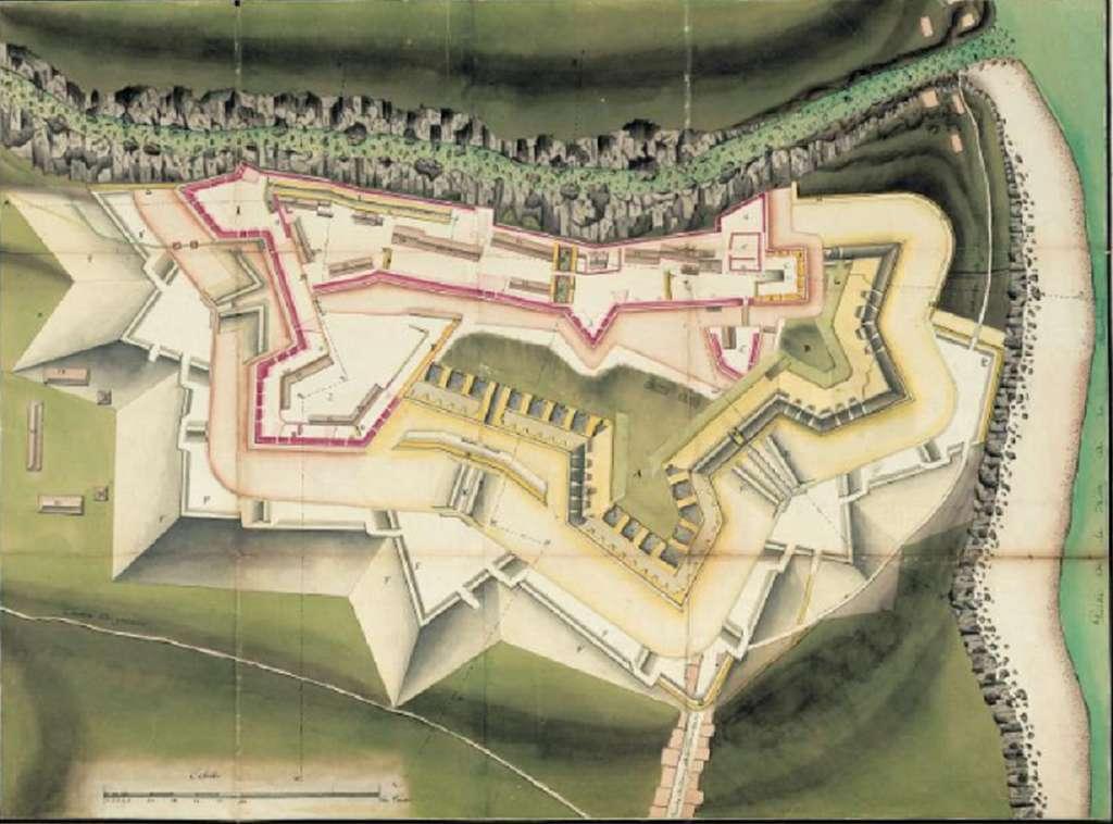 Dessin du Fort Saint-Charles, Basse Terre, Guadeloupe, vers 1764 ; ANOM, base Ulysse. © Archives nationales d'outre-mer